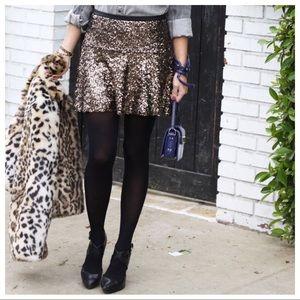 NWT Express Gold/Black Sequin Miniskirt SZ 00